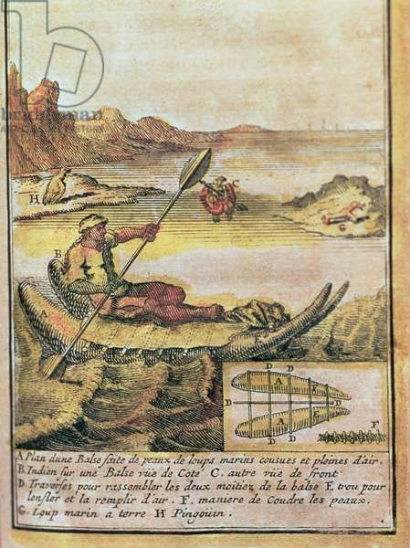 137-627922 Illustration from a history of Chile showing an Indian on a sealskin raft and a diagram of the construction, 1713 (engraving)