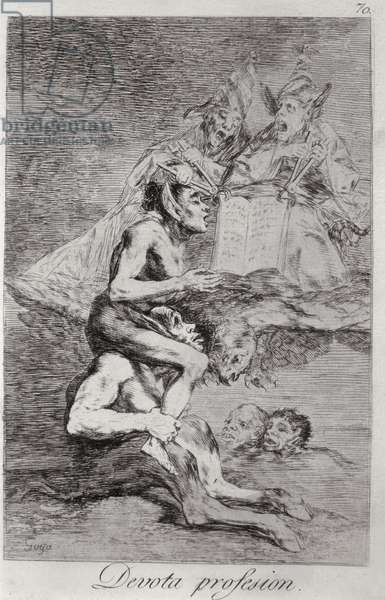 The Devout Profession, plate 70 of 'Los caprichos', 1799 (etching) (see also 175022)