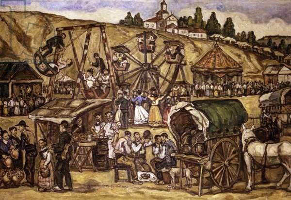 Fair in the San Isidro Meadows, Madrid, 1933 (oil on canvas)