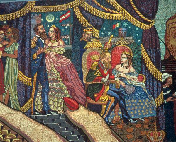 History of the Theatre in Mexico, detail of Ferdinand-Joseph Maximilian (1832-67) and his wife, Charlotte (1840-1927), 1953 (mosaic)