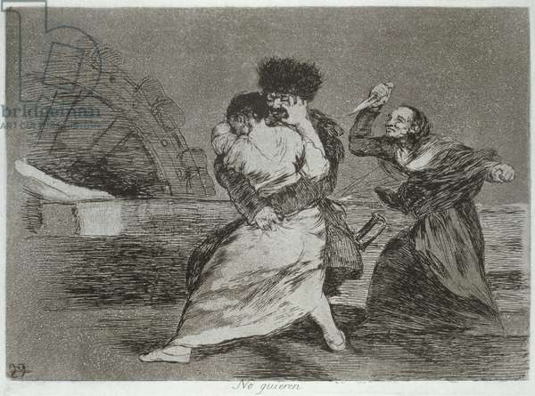193-0082190 They don't like it, plate 9 of 'The Disasters of War', 1810-14, pub. 1863 (etching)