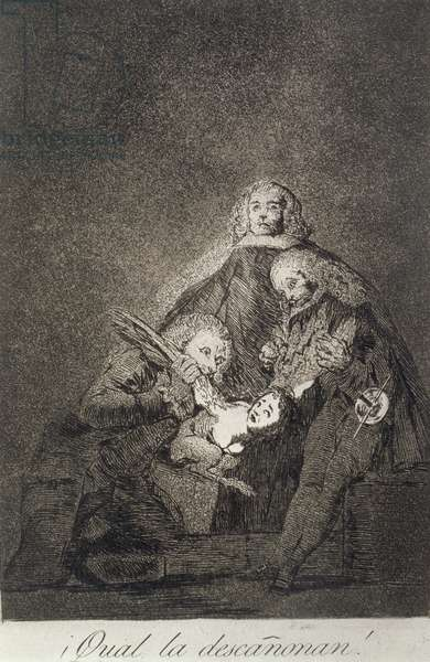 How they pluck her!, plate 21 of 'Los caprichos', pub. 1799 (etching & burnished aquatint)