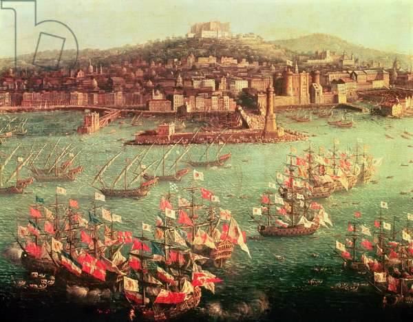 The fleet of King Charles III (1716-88) of Spain before the city of Naples, 6 October 1759 (oil on panel)