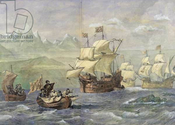 The Discovery of the Strait of Magellan (coloured engraving)