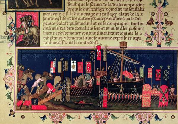 Rules of conduct for crusader knights, from the manuscript 'Ordre du Saint-Esprit' (vellum)