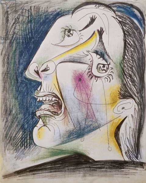 131-0057794/1 Preparatory Drawing for Guernica, 1937 (coloured pencil)