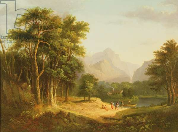 Highland Landscape with Figures (oil on panel)