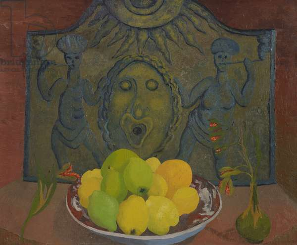 Still life before Sussex fireback (oil on canvas)