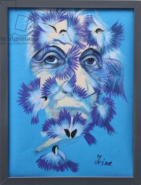 Albert Einstein and Chickadees, 2015 (oil on canvas)