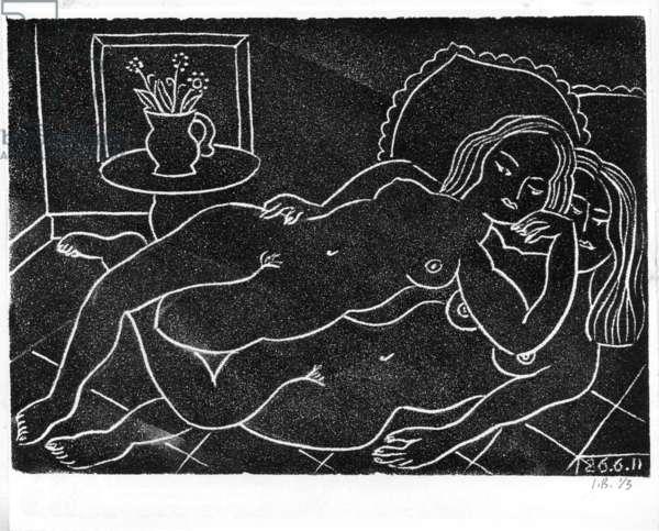 Studio Nude 2, 2011 (linocut on paper)
