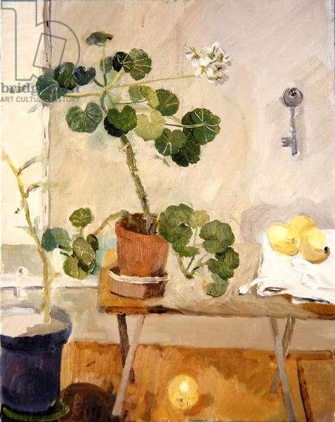 Geranium in the Studio, 2003 (oil on canvas)