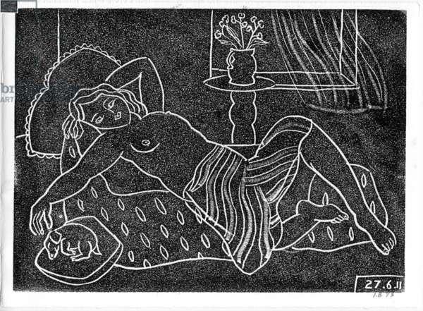 Studio Nude IV, 2011 (linocut on paper)