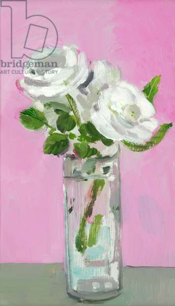 White Roses on a Pink Background, 2005 (oil on board)
