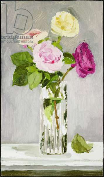 Mixed Roses in a Glass Vase with a Fallen Leaf, 2005 (oil on canvas)