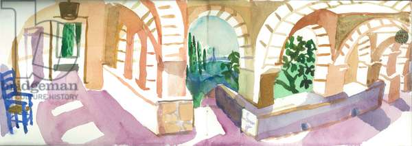 Cloisters at Patrick Leigh Fermor's House, Kardamyli, 2006 (w/c on paper)
