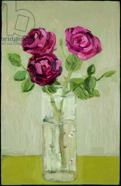 Pink Roses in a Glass Vase, 2005 (oil on canvas)