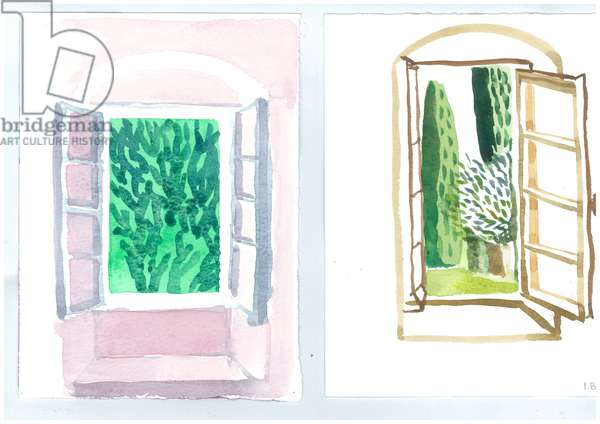Windows at Patrick Leigh Fermor's House, Kardamyli, 2006 (w/c on paper)