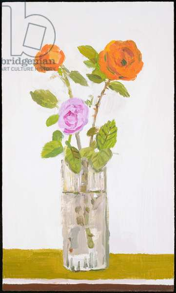 Orange Roses in a Glass Vase, 2005 (oil on canvas)