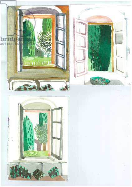 Windows in Patrick Leigh Fermor's House, Kardamyli, 2006 (w/c on paper)