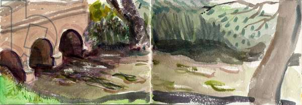River Windrush, Oxon, 2014 (w/c on paper)