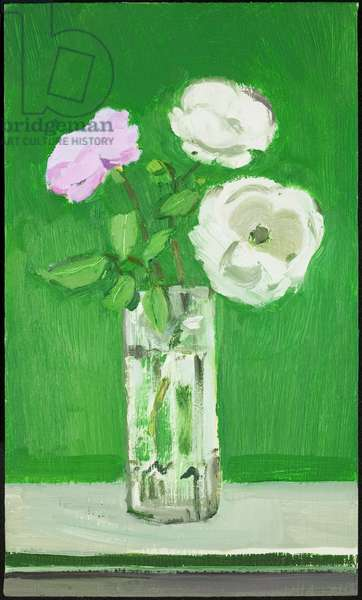 White Roses in a Glass Vase against a Green Background, 2005 (oil on canvas)