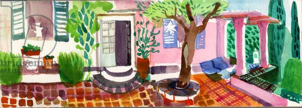Terrace at Paddy Leigh Fermor's House, Kardamyli, Greece, 2006 (w/c on paper)