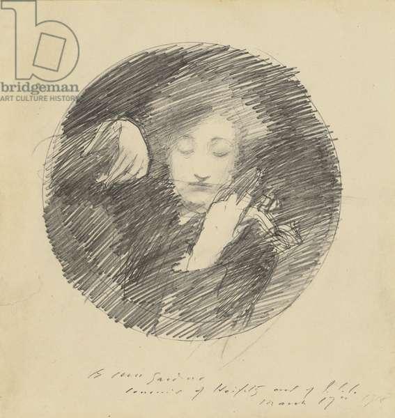 Jascha Heifetz, 1918 (pencil on paper board)