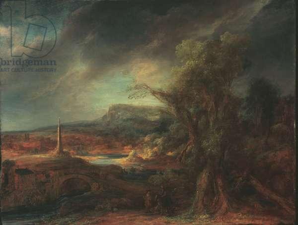 Landscape with Obelisk, 1638 (oil on wood)