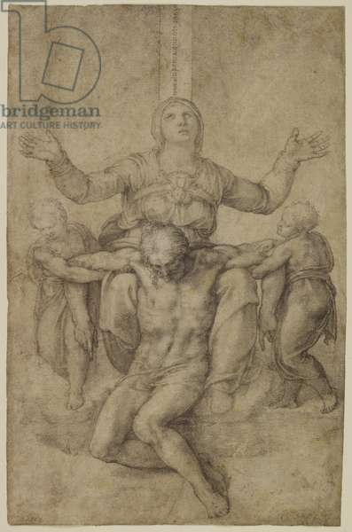 Pieta, early 1540's (black chalk on paper), study for the Colonna Pieta