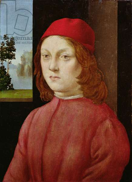 A Boy in a Scarlet Cap (oil on panel)