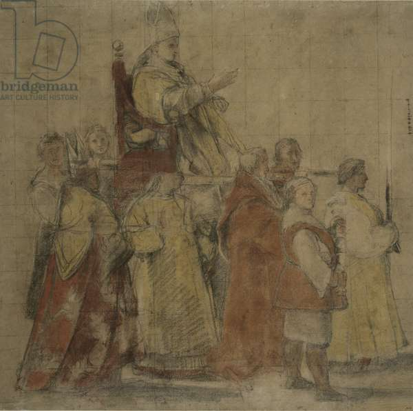 Procession of Pope Sylvester I, c.1516-17 (coloured chalks on paper)