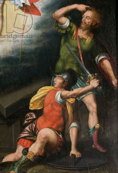 Soldiers during the resurrection, detail. Triptych of Aubery, 1603 (painting on wood)