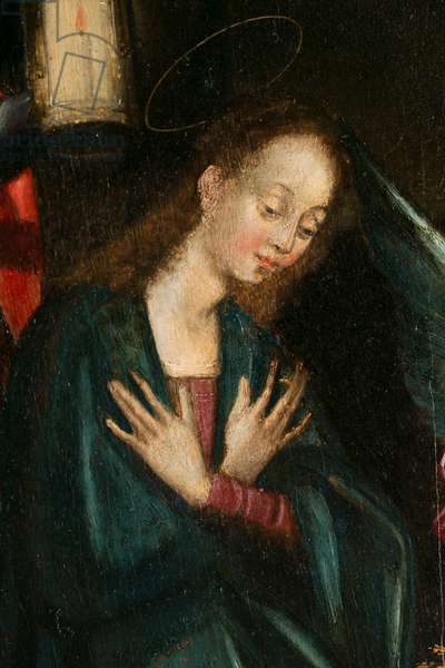 The Virgin, detail of the Nativity. Triptych of Aubery, 1603 (painting on wood)