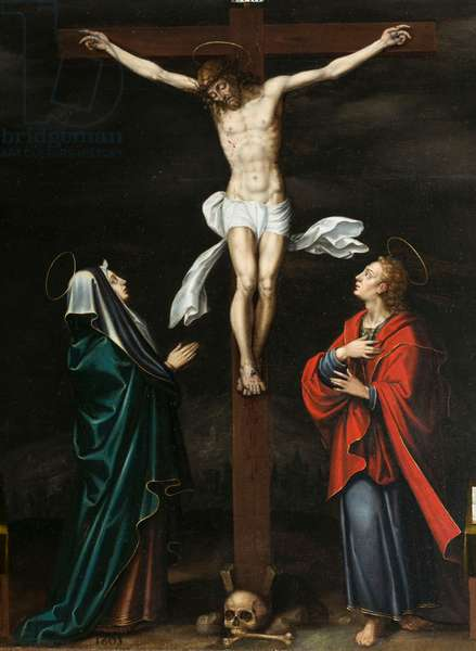 Crucifixion. Triptych of Aubery, 1603 (painting on wood)