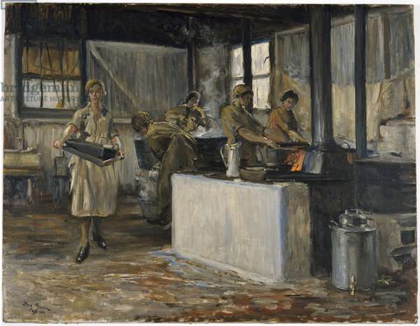 Members of the QMAAC: at work in the cookhouse, RAF Camp, Charlton Park, 1919 (oil on canvas)