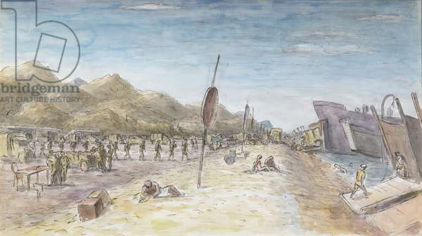 The Invasion of Sicily: Troops and Vehicles Embarking on Invasion Craft at 'Charlie' Beach near Santa Teresa di Riva, Sicily, 3 September 1943 (w/c on pape)