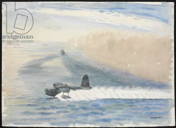 Activities begin as soon as the mist blows out to sea, 1942 (w/c)