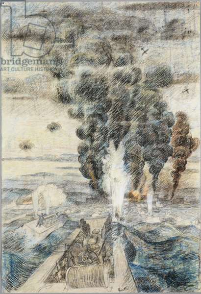 From the Landing Craft Assault: we watched the 'planes dive-bombing near Le Hamel, D Day, 6th June 1944 (chalk)