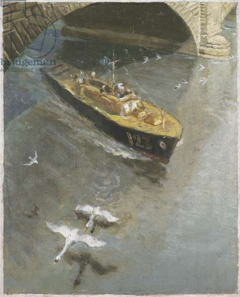 War-time traffic on the River Thames: RAF Sea-rescue Launch, London Bridge, 1942 (oil on panel)