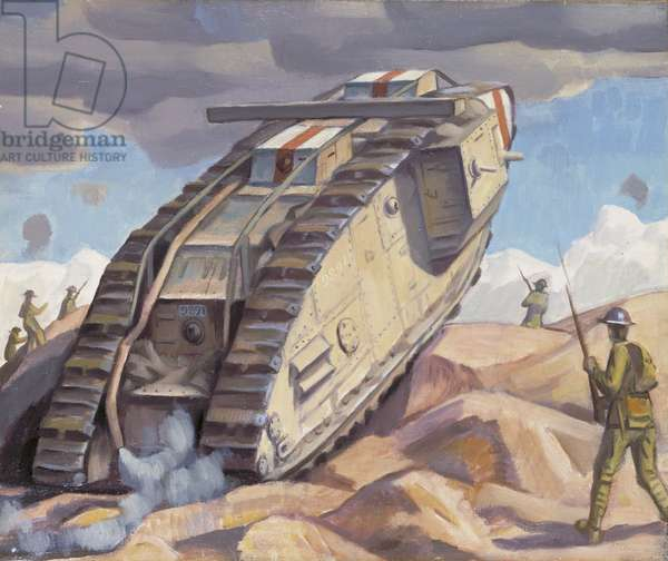 A Mark V Tank Going Into Action, 1918 (oil on canvas)