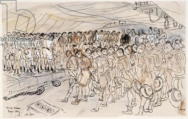 Divine Service on Christmas Day, a Naval Padre with ratings, marines and airmen 1941-42 (ink & wash)