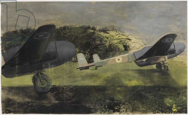 Picketed Aircraft, 1943 (ink & gouache on paper)