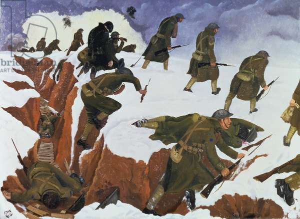 'Over the Top' 1st Artists' Rifles at Marcoing, 30th December 1917, 1918 (oil on canvas)