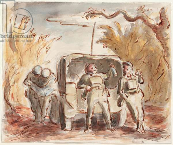 With the 300th: Lunch in the Nieppe Forest, 1940 (w/c on paper)