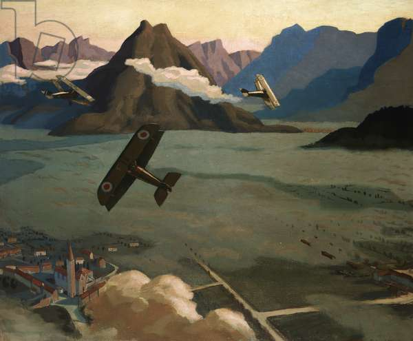 British Scouts leaving their Aerodrome on Patrol, over the Asiago Plateau, Italy, 1918 (oil on canvas)