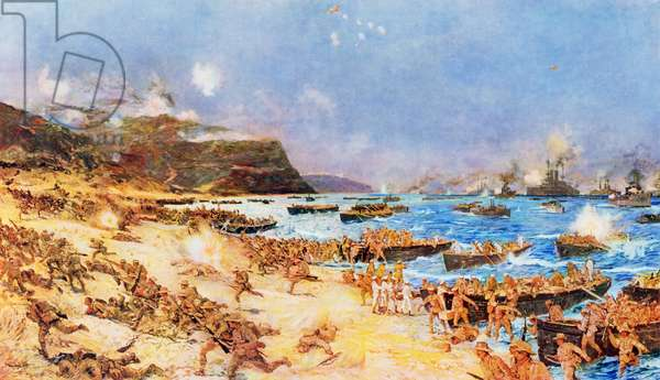 The Landing at Anzac, 25th April 1915, 1916 (colour litho)
