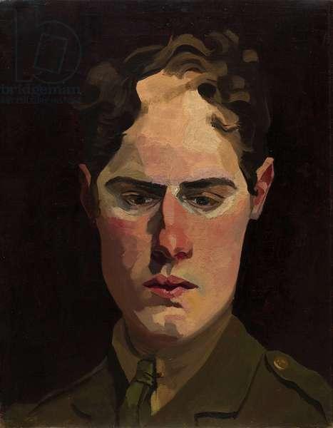 Self Portrait in Uniform, 1918 (oil on canvas)