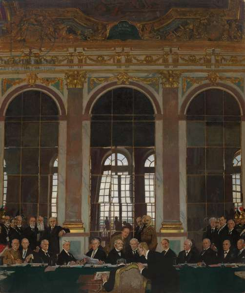 The Signing of Peace in the Hall of Mirrors, Versailles, 28th June 1919 (oil on canvas)