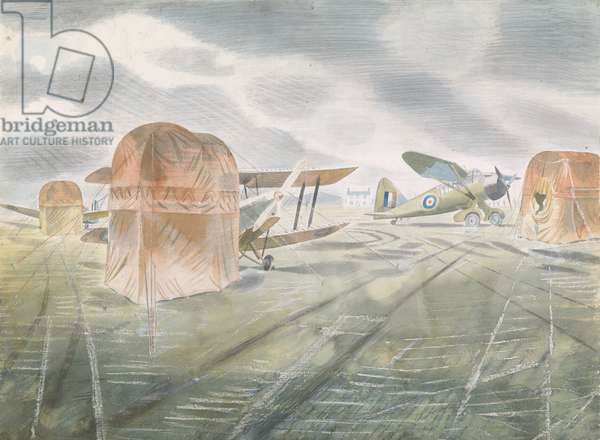 Aeroplanes on an Airfield, 1942 (w/c on paper)