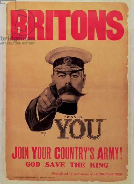 'Britons: Join Your Country's Army!', First World War recruitment poster with a portrait of Kitchener, 1914 (litho & letterpress on paper) (see also 65836)